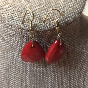 Jewelry - Red and gold-tone earrings